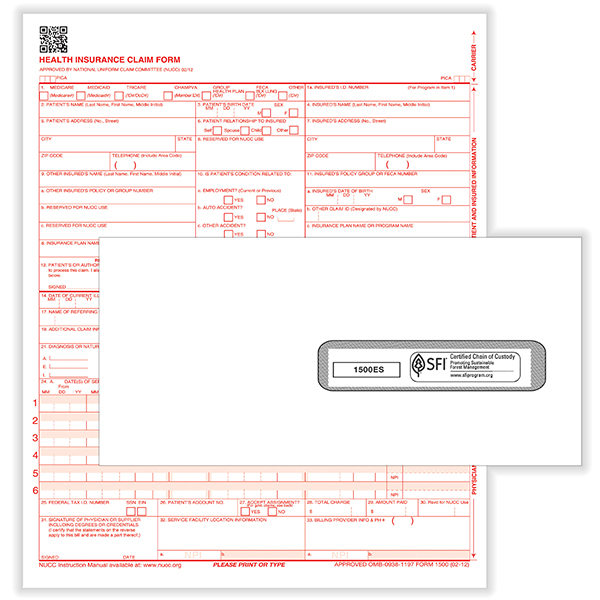 Picture of CMS-1500 Forms and #10 Window Envelopes