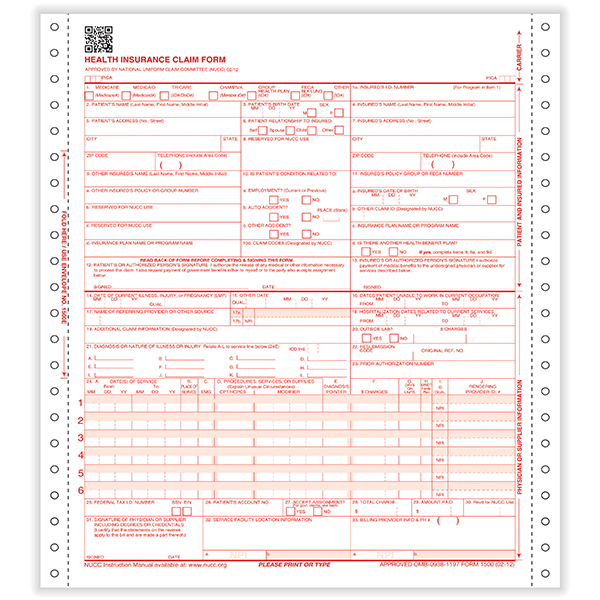 Picture of 2-Part Pinfeed - CMS-1500 Forms