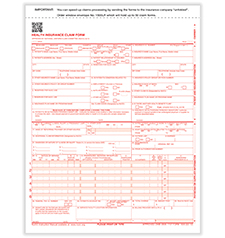 Imprinted CMS-1500 Forms - 2-Part Handwritten