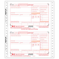 W-2 One Wide Continuous Tax Forms — 4-Part