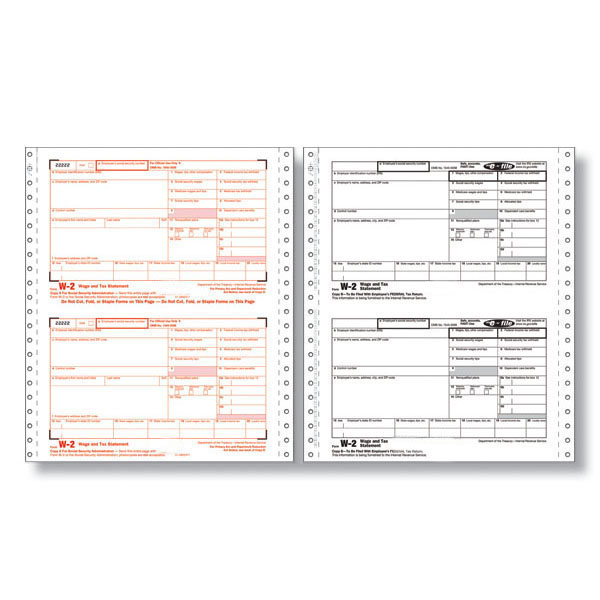 W-2 Twin Set Continuous Tax Forms — 6-Part