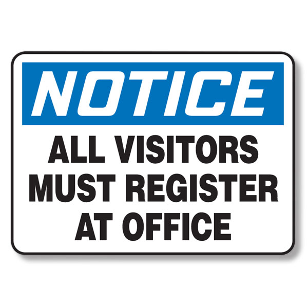 All Visitors Must Register English