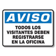 Visitors Must Register Sign Spanish