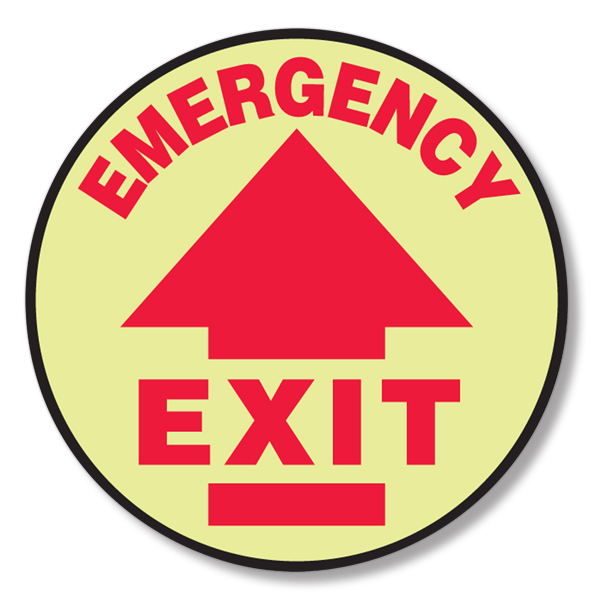 Glow in Dark Emergency Exit Floor Sign