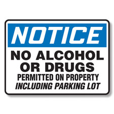 No Alcohol Or Drugs Permitted On Property Sign