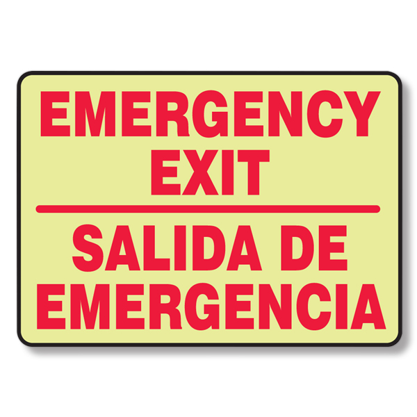 Picture of Bilingual Glow-In-Dark Emergency Exit Sign
