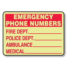 Glow in Dark Fire Emergency Numbers Sign