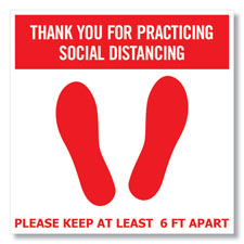 Red & White Social Distancing Floor Cling