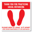 Picture of Red & White Social Distancing Floor Cling