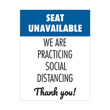 """""""Seat Unavailable"""" Social Distancing Seat Decals"""