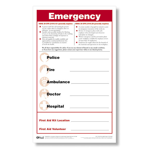 Emergency Numbers Safety Poster