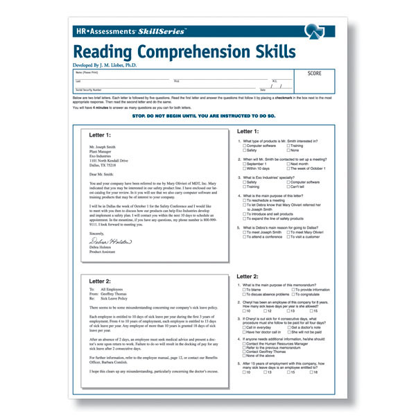 Workplace Reading Comprehension Test
