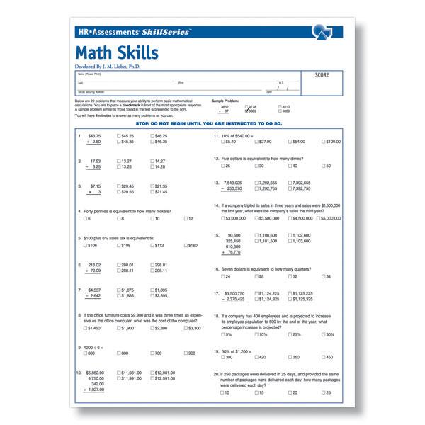 Workplace Math Skills Test