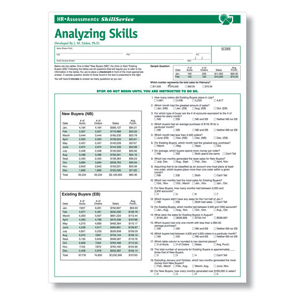 analytical skills online test for pre