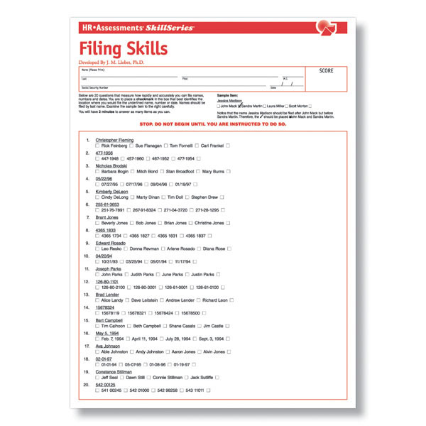 Filing Skills Online Test For Clerical Job Applicants