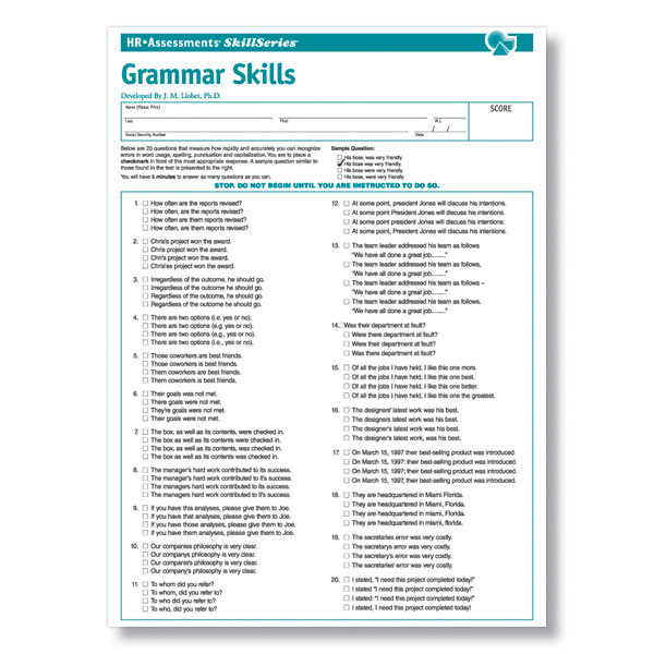 Online Grammar Test For Job Applicants And Clerical Employees