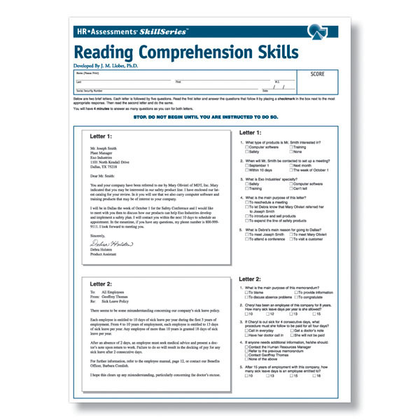 Workplace Reading Comprehension Online Test