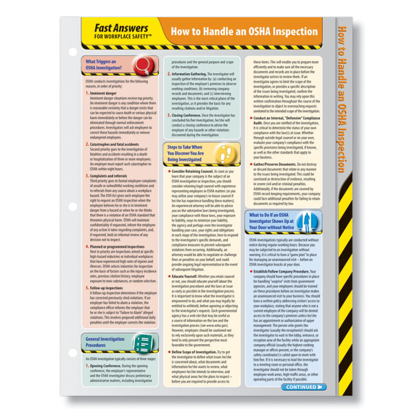 OSHA Inspection Fast Answers Quick Reference Card