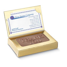 Thank You Light Chocolate in Business Card Gold Box