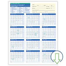 Downloadable Academic Year Attendance Calendar