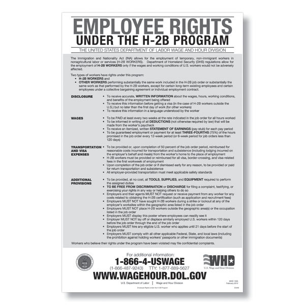 Picture of Employee Rights under the H-2B Program Poster