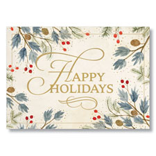 Picture of Watercolor Happy Holidays Holiday Card