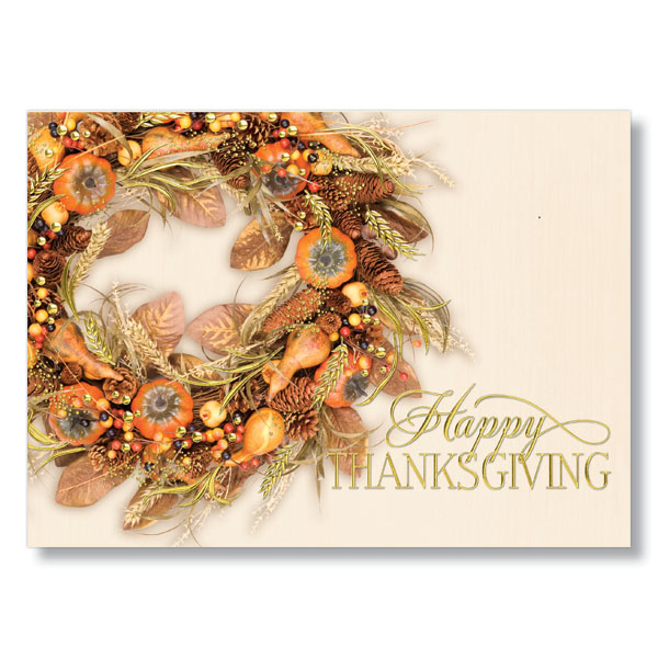 Wreath of Autumn Colors Holiday Card