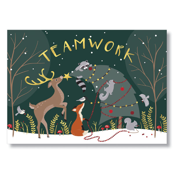 Team Work in the Forest Holiday Card