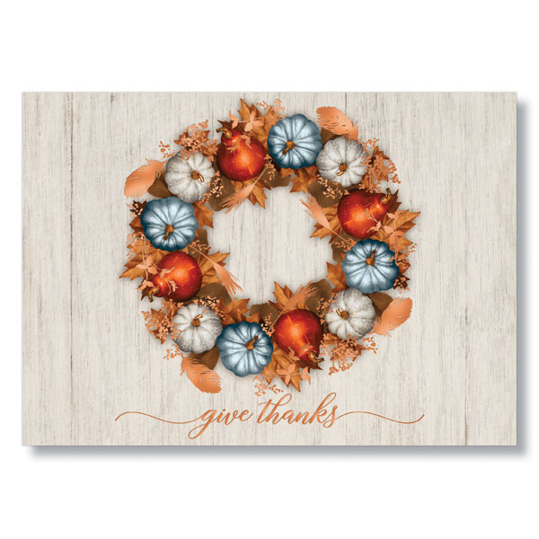 Wreath of Pumpkins Holiday Card
