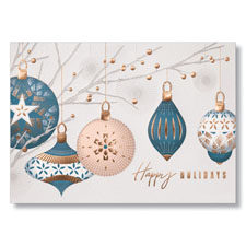 Teal and Copper Ornaments Holiday Card