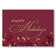 Burgundy and Gold Flourish Holiday Card