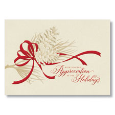 Red Ribbon Appreciation Holiday Card
