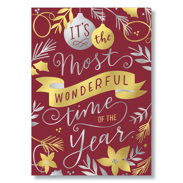 Gold and Silver Sentiment Holiday Card