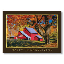 Red Barn Thanks Holiday Card