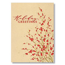 Gold Sprigs of Red Berries Holiday Card
