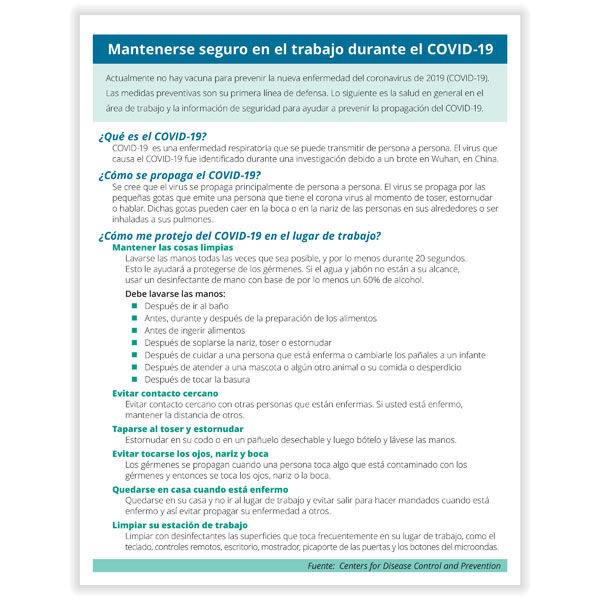 Picture of Spanish COVID-19 Prevention and Stress Management Handout