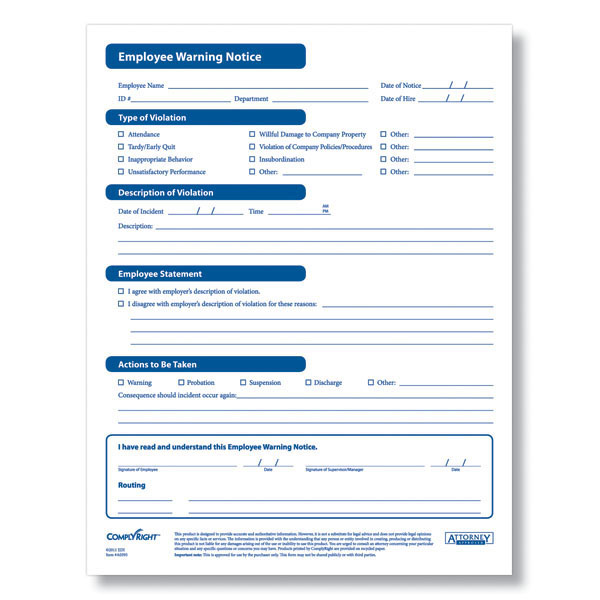 Employee Warning Form  Disciplinary Forms