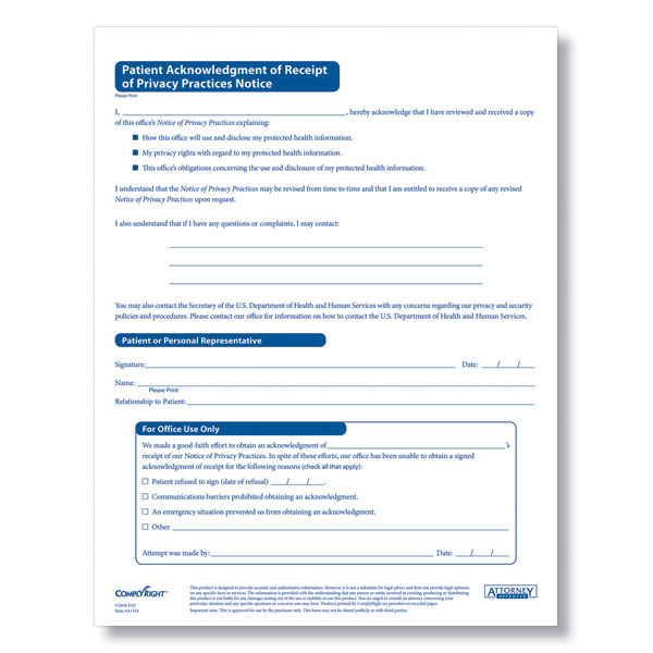 Hipaa Patient Acknowledgement Form Notice Of Priacy Practices