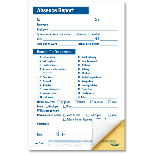 employee absence report compact 2 part disciplinary forms