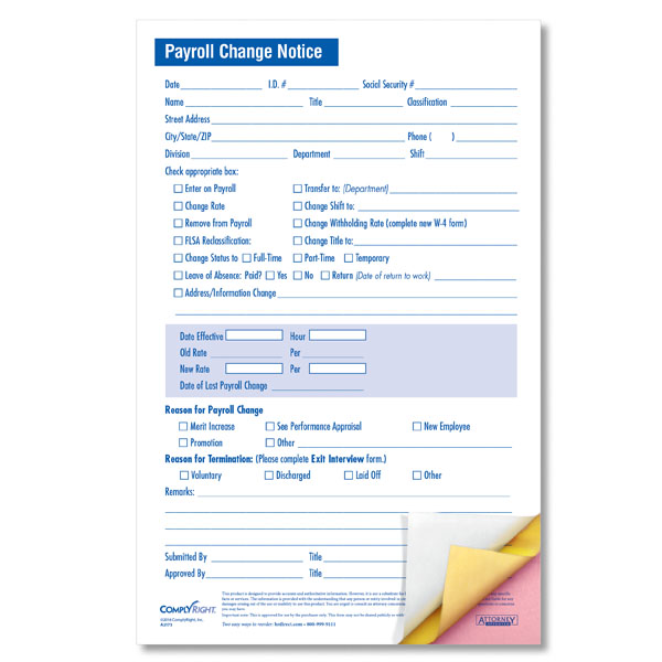 payroll change form template