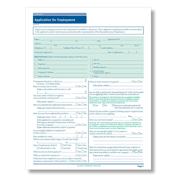 connecticut state compliant job application