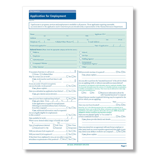 New Hampshire State-Compliant Job Application