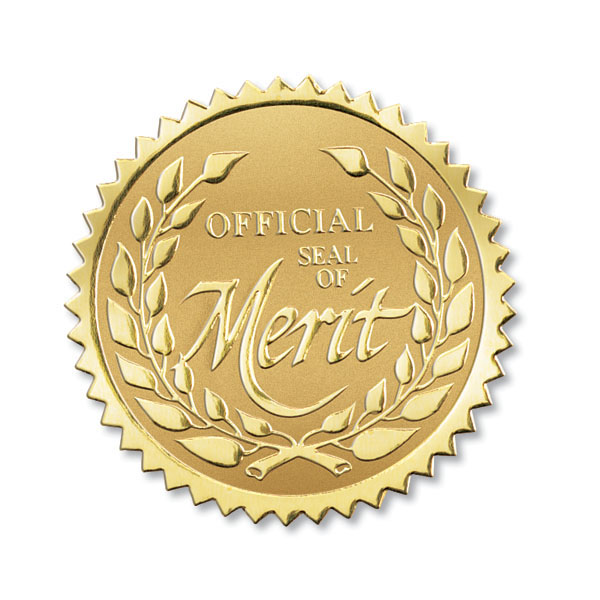 Seal Of Merit Foil Seals For Employee Certificates And Awards