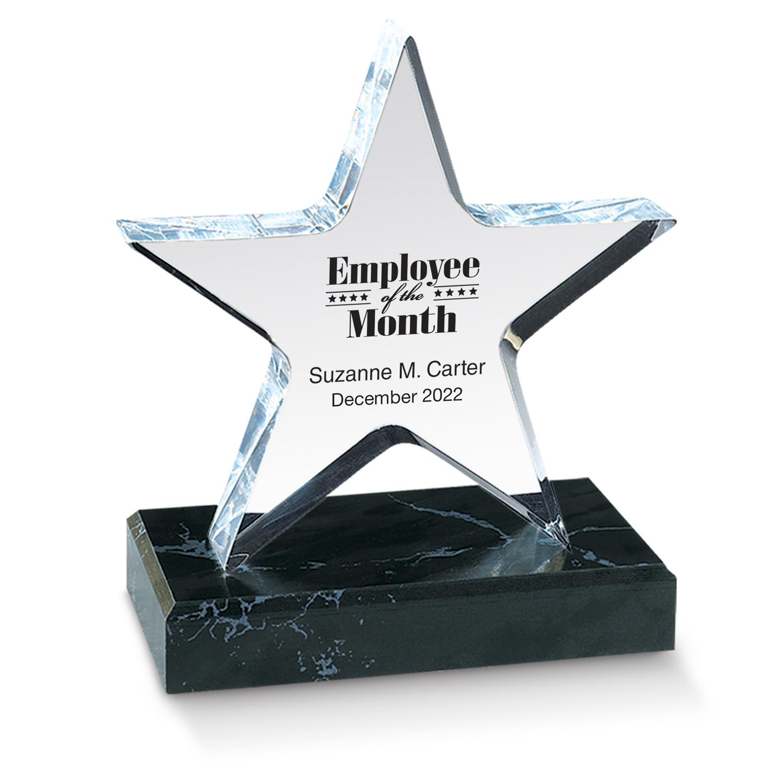 lucite star acrylic desktop employee award employee recognition