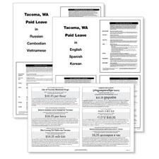 Tacoma, WA Minimum Wage and Paid Leave Labor Poster Bundle