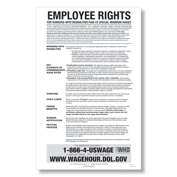Workers with Disabilities Paid at Special Minimum Wage Poster