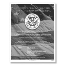 Department of Homeland Security Fraud Hotline Poster