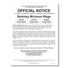 Berkeley, CA Minimum Wage Poster