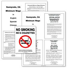 Sunnyvale, California Minimum Wage & No Smoking Poster Bundle