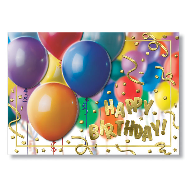 Balloon Cluster Happy Birthday Cards For Cheerful Birthday Messages